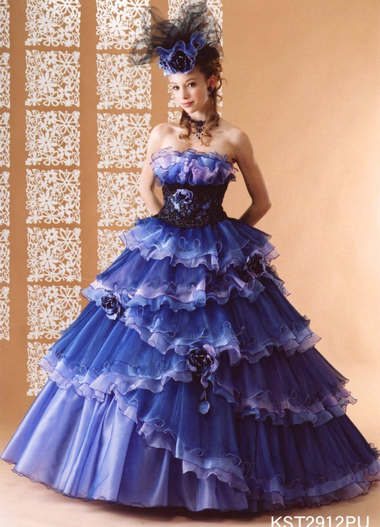 dball ~ dress ballgown | ガーリー・ボリュームドレス ブルー・ネイビー ...