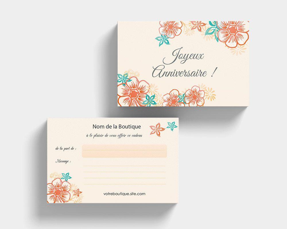 Carte Cadeau Pour Message Danniversaire Fleur Orange Et Turquoise