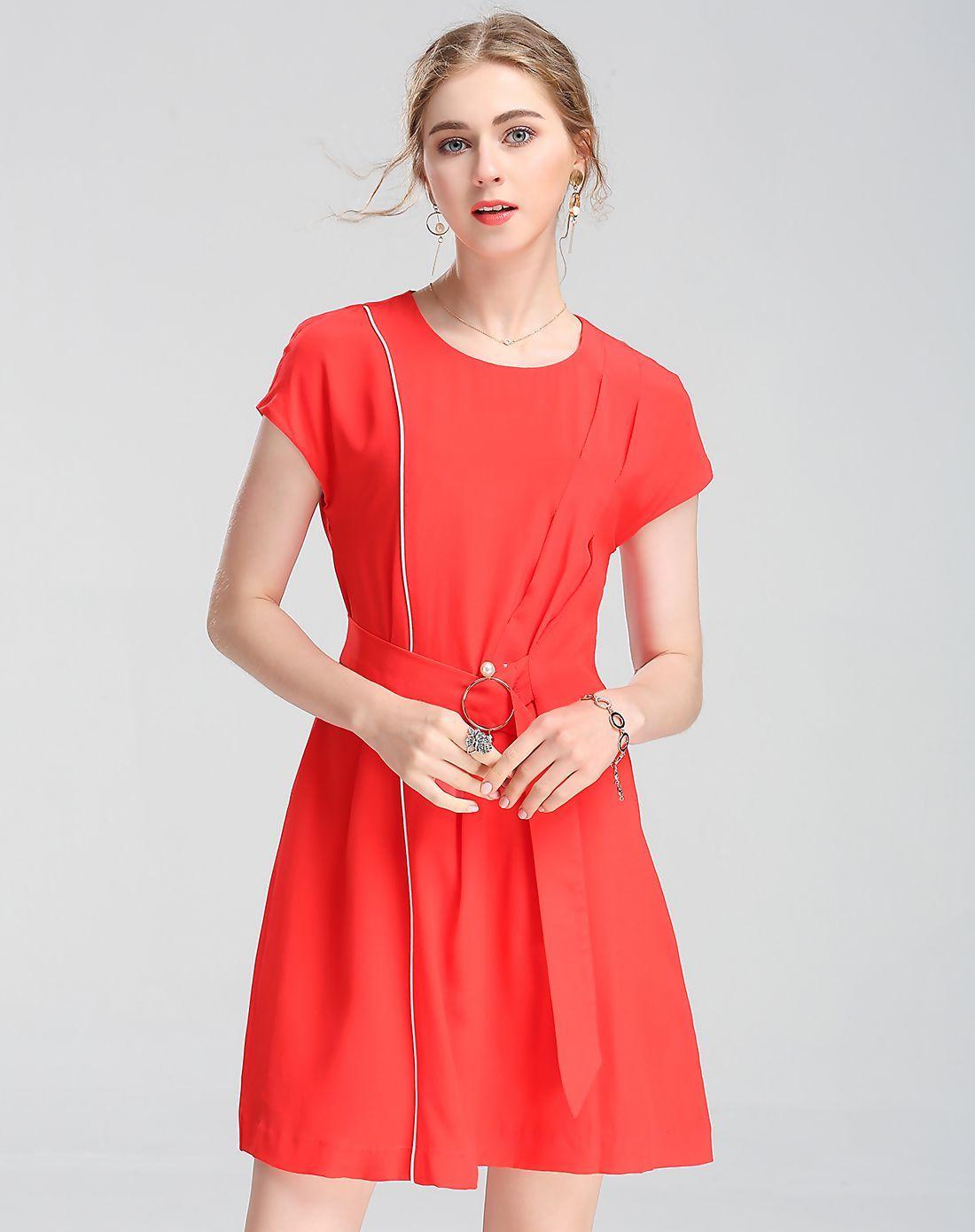 Viva vena red silk plain round neck tied aline mini dress reducbr