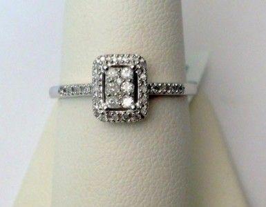 Halo Rectangle Vintage Antique Style Diamonds Engagement Promise Ring (0.16ct. tw)-RG321589644853