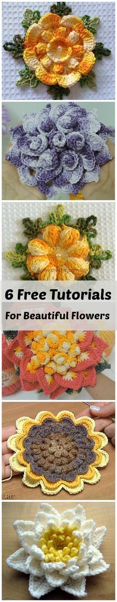 6 Beautiful flowers for your decorations | Häkelanleitungen by Chris ...