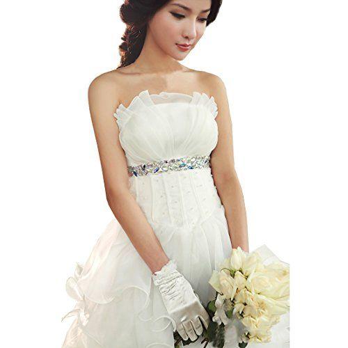 Partiss Damen traegerlos lang Schulterfrei Hochzeitskleid ...