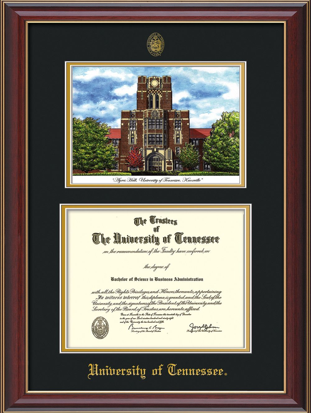 University of Tennessee Diploma Frame - Cherry Lacquer - w/Embossed UTK Seal