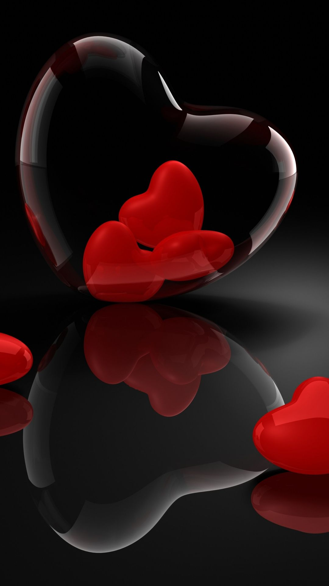 Heart Glass 3d Reflection Iphone 8 Wallpapers Heart Wallpaper Love Wallpaper Abstract