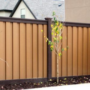 Brown Woodland Brown And Tan Saddle Trex Fence Garden Fence Paint Fence Paint Colours Fence Paint