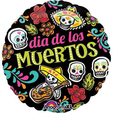 dia de los muertos skulls flowers black day of the dead 18 mylar rh pinterest com day of the dead skull clipart day of the dead clip art to color
