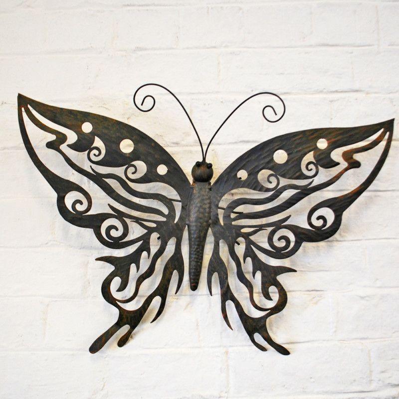 Decorative Metal Butterfly Garden Wall Art Design Black