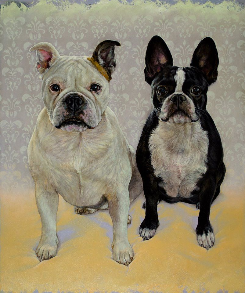Dana Hawk Paintings And Dog Portraits Zoey And Lilly Dog Art