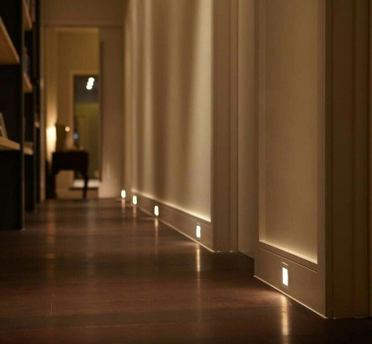 Led Lights In Baseboard Of Hallway
