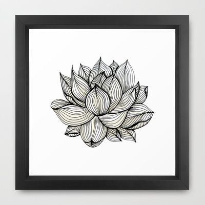 Lotus Flower, Black and white, Nature, Organic design, drawing ...