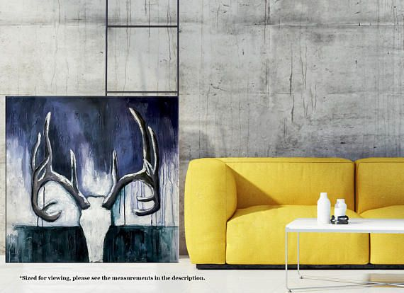 Antler Painting, Stag horns, Woodland Animals, Abstract Deer ...