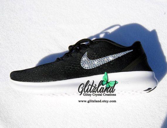 7382d8308d6f Ships Within 3 Business Days!! Swarovski Nike Size 9.5!! Blinged 2016 Black  Nike Free RN Blinged with SWAROVSKI® Crystals