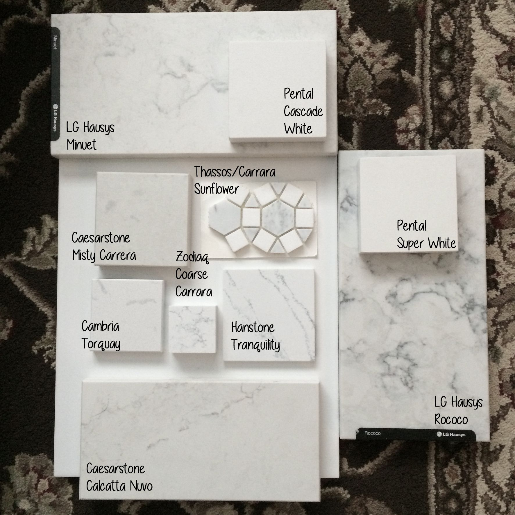Quartz Options Comparison Sitting On A Glossy White Tile Lg