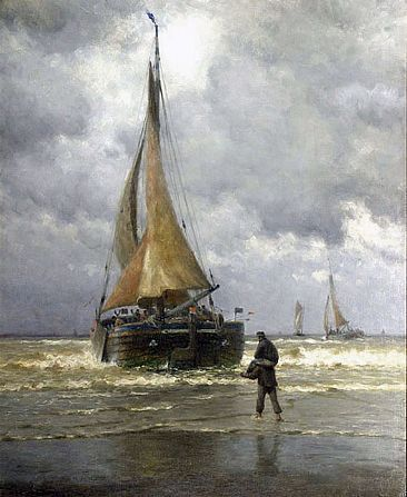 William Edward Norton, On the Coast of Holland, Fishing Boat Ready for Sea, c. 1890, oil on canvas, 42 X 34 inches
