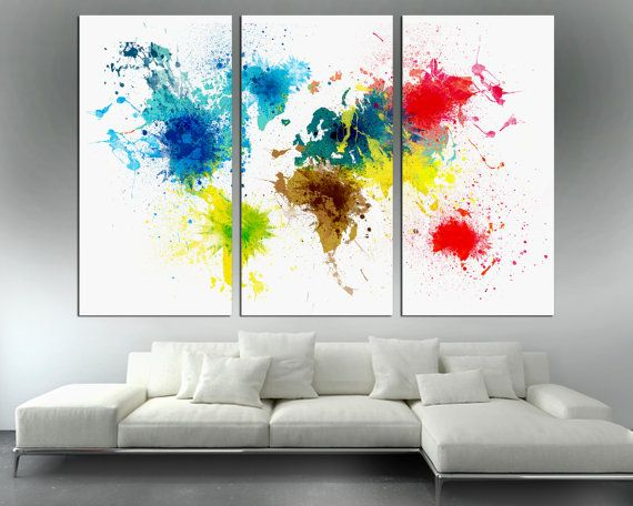Colorful Abstract Art World Map Canvas Print 3 Panel Split