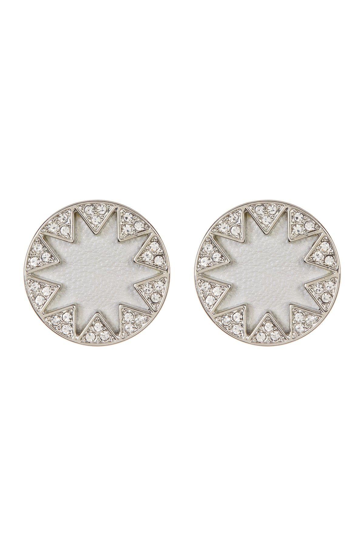 Embellished Sunburst Bezel Round Earrings