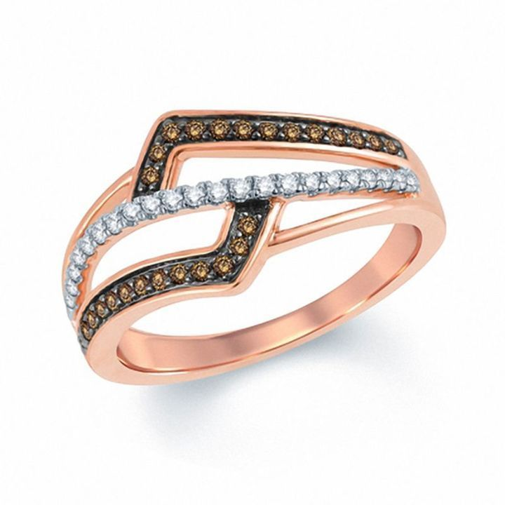 Zales 1/6 CT. T.w. Champagne and White Diamond Hearts Ring in 10K Rose Gold oMLeuf