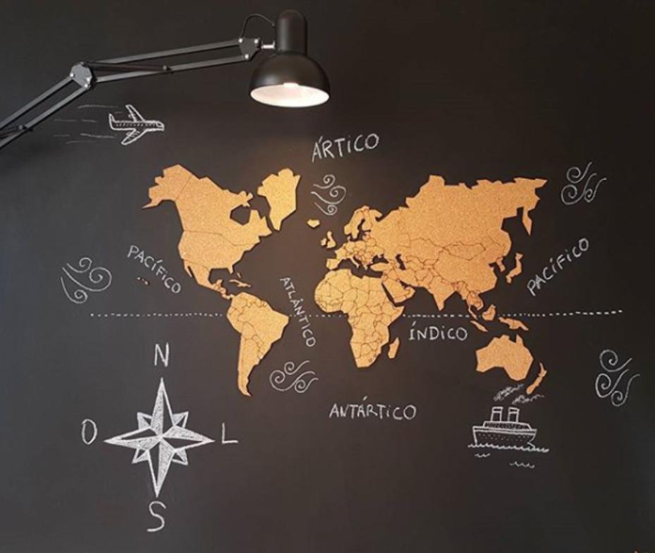 Mural de corti a adesivo mapa m ndi 10 pins especiais my - Mapa mundi mural ...