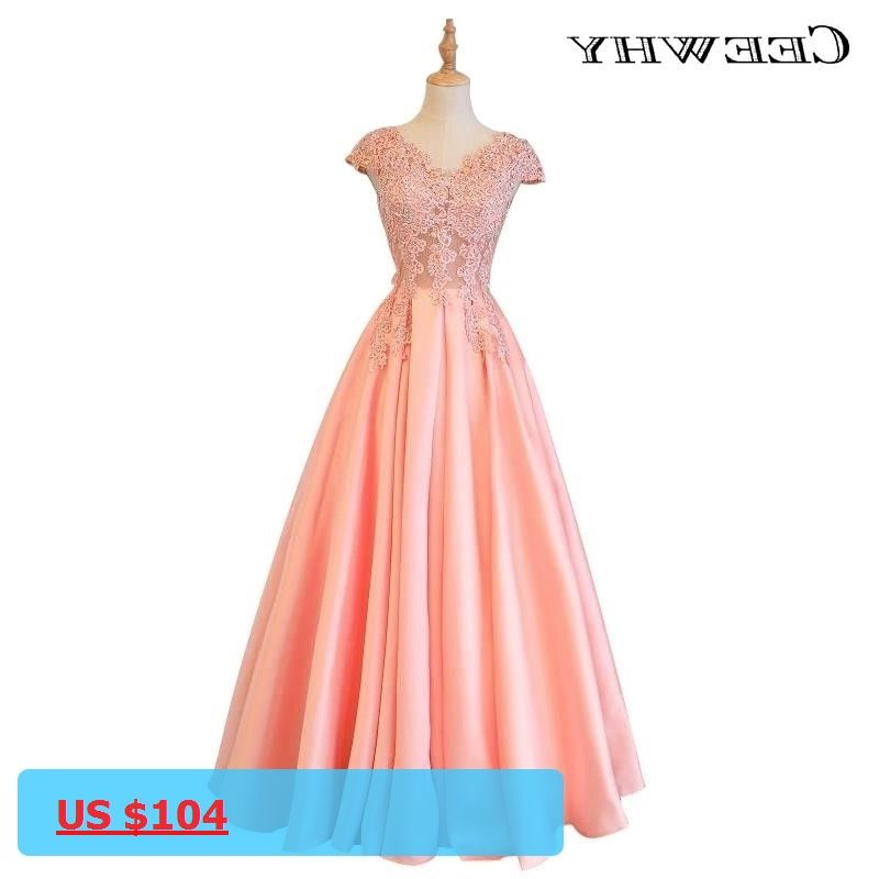 CEEWHY Embroidery Beading Satin Luxury Coral Evening Dress A Line ...