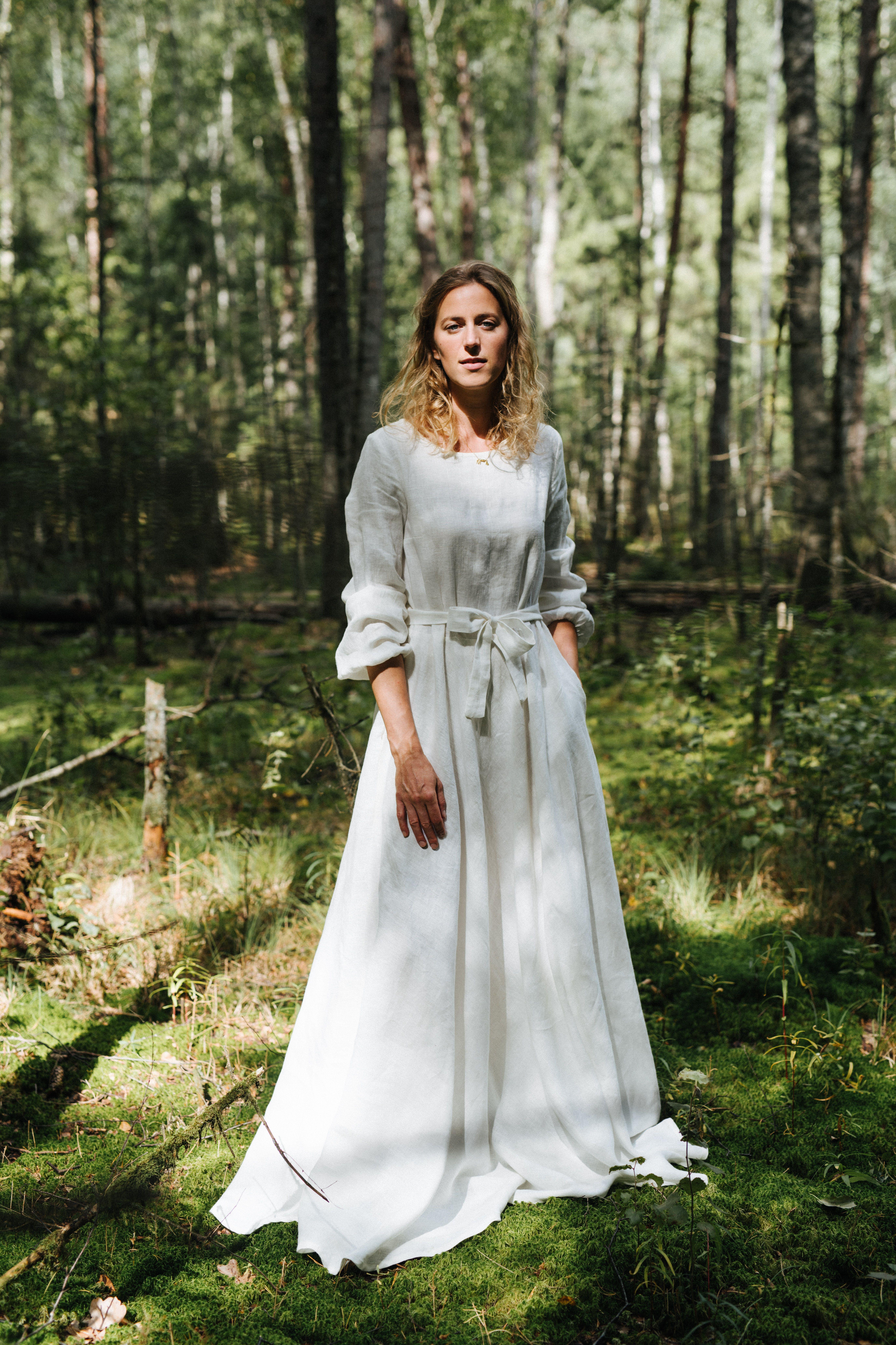 Boho Wedding Dress Linen Wedding Dress Rustic Wedding Dress Classic Wedding Dress Wide Skirt Wedding Dress White Wedding Dress Etsy Wedding Dress Linen Dresses Linen Wedding Dress