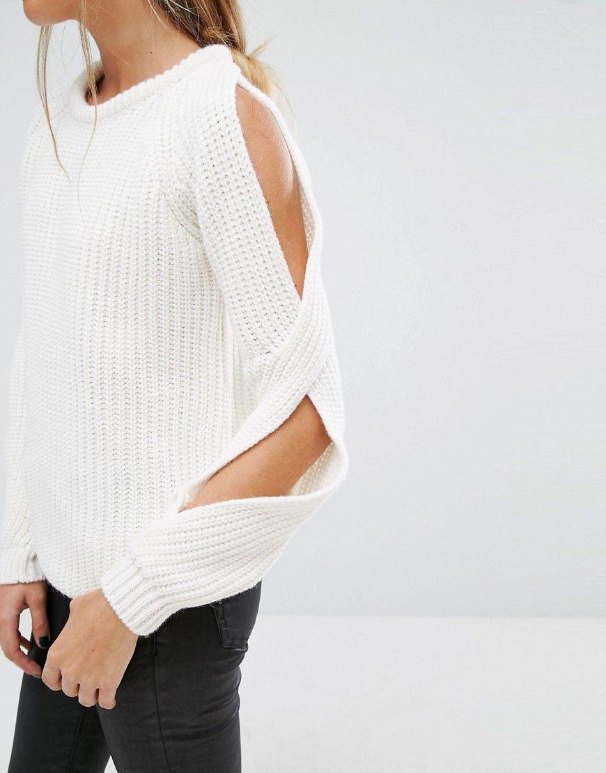 Jersey de punto de canalé con hombros descubiertos de Fashion Union ...