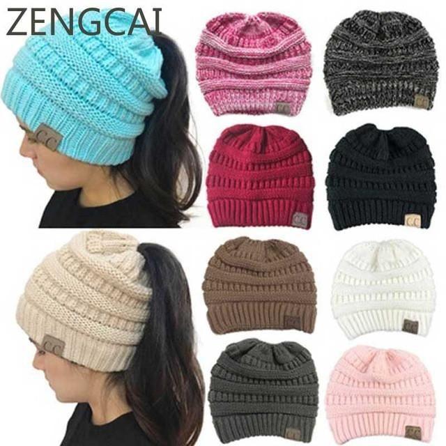solid color cc ponytail beanie hat women crochet. Black Bedroom Furniture Sets. Home Design Ideas