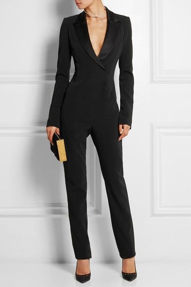 Mugler satin-trimmed stretch crepe jumpsuit. Paneling makes the fit slim. Concealed zip and snap fastenings at front.