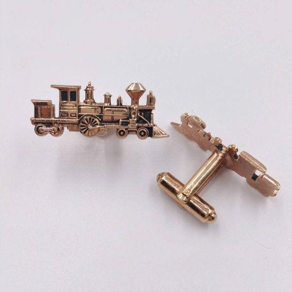 Vintage Brass Train Locomotive Cuff Links