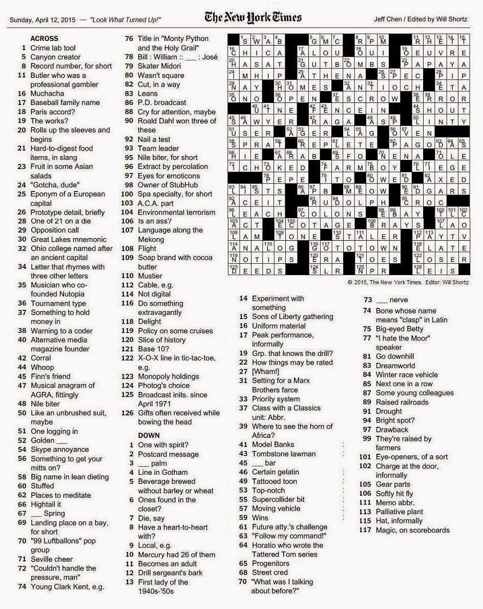 Ny Times Crossword Blog : times, crossword, Times, Crossword, Gothic, Puzzles,, Printable, Puzzles