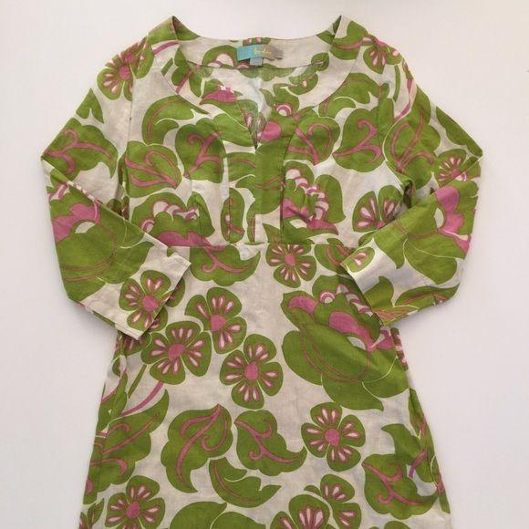 Boden linen dress Beautiful floral linen dress with 3/4 length sleeves. Boden Dresses