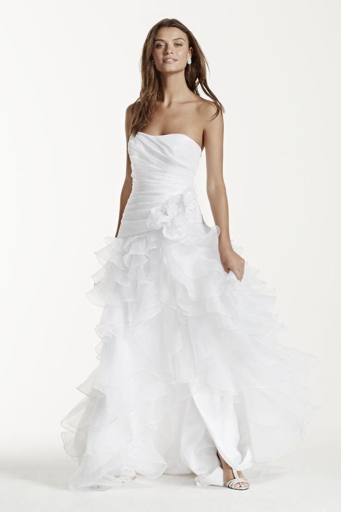 82a6b544e51 Short Organza Strapless Taffeta High Low Ruffled Wedding Dress - Ivory, 12