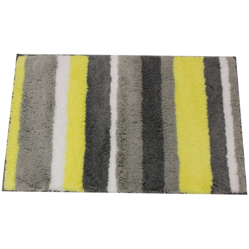 Daizy Stripz Yellow And Gray Bath Accent Rug By InterDesign - Gray and white bath mat for bathroom decorating ideas