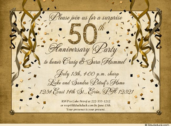 50th anniversary invitation wording samples festive 50th anniversary party invitation gold. Black Bedroom Furniture Sets. Home Design Ideas