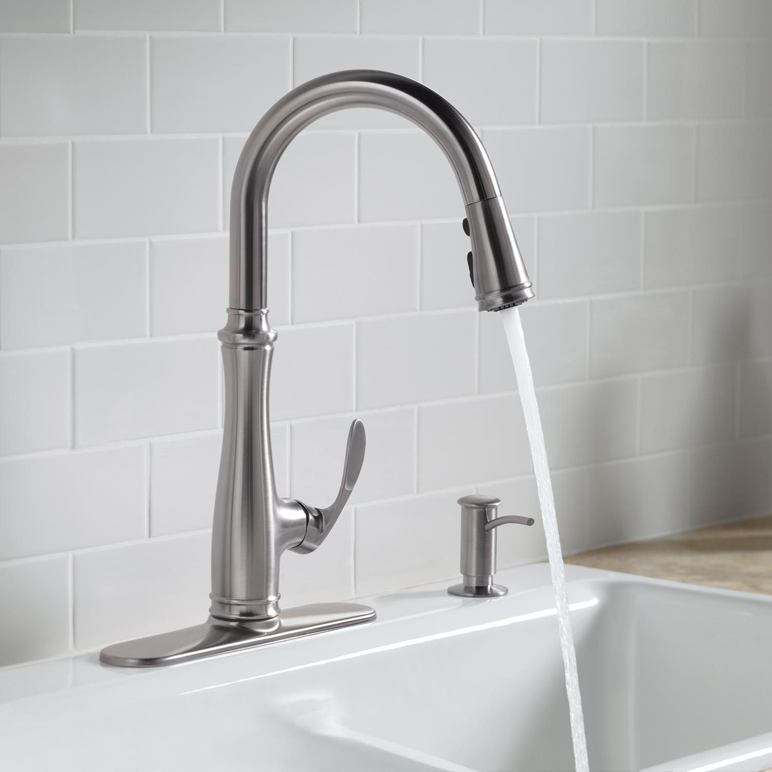 Kohler K-560-VS Bellera Pull-Down Kitchen Faucet, Vibrant Stainless ...