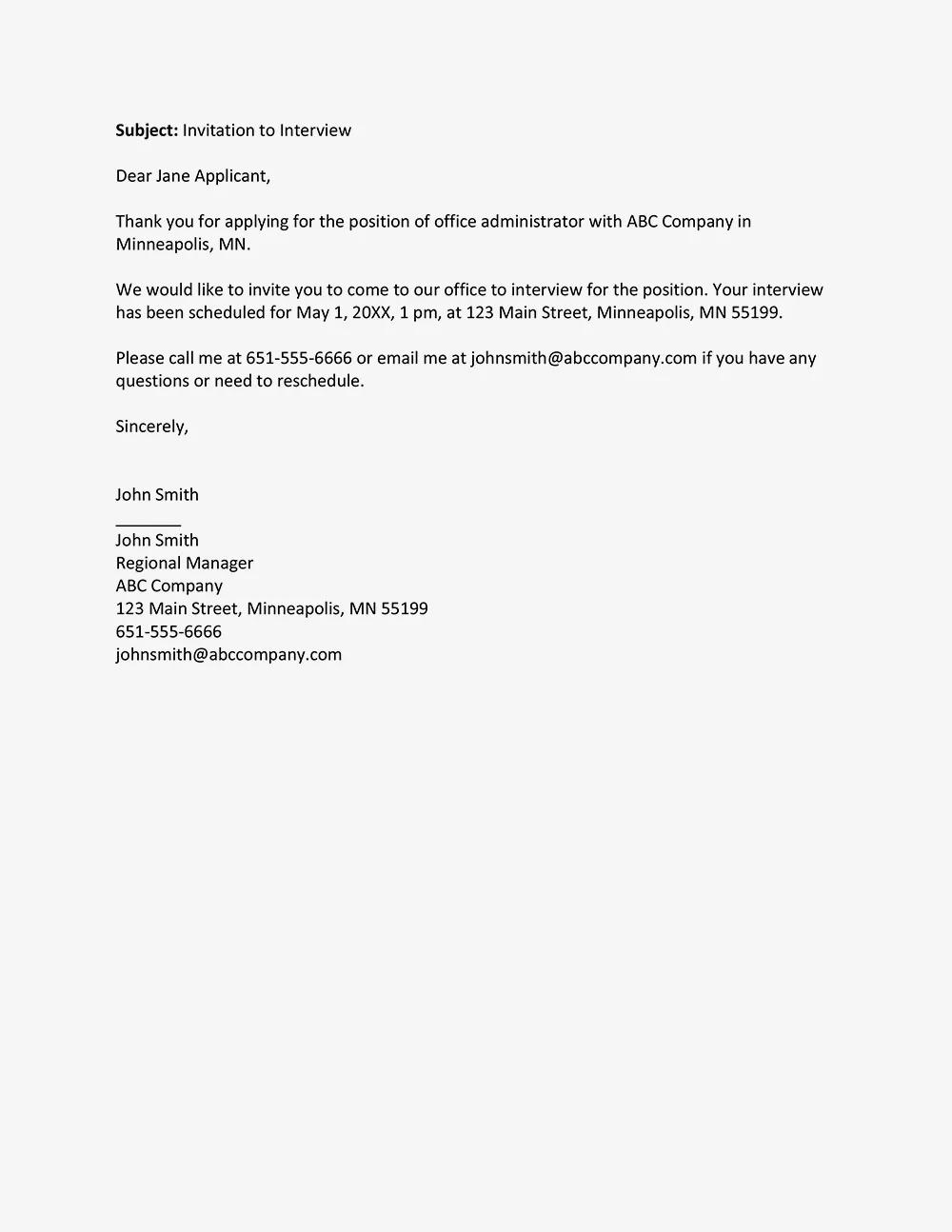 job interview invitation letter