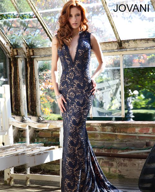 Jovani Lace Plunging Neckline Gown 78450 In Navynude Shelbys