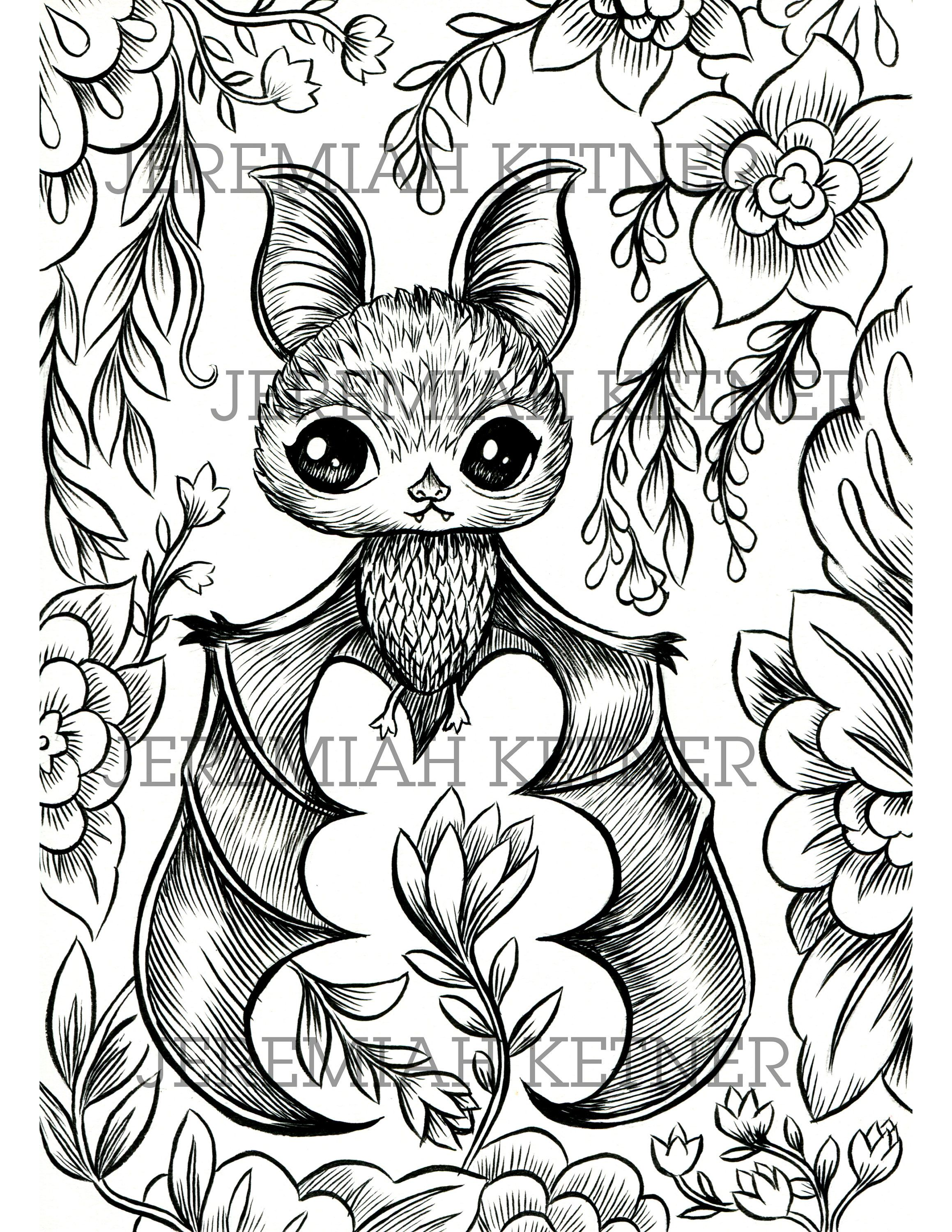 Vampire Bat Coloring Page Instant Download Bat Coloring