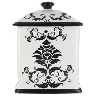 Medium Black & White Damask Square Canister | Shop Hobby Lobby