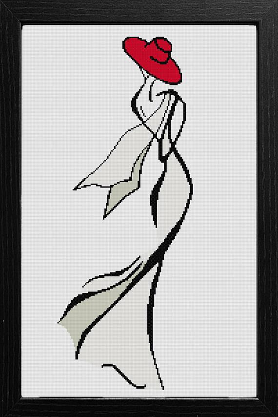Modèle de point de croix moderne – femme avec chapeau rouge – modèle de point de croix femme – modèle de point de croix fille – modèle de point de croix femme silhouette   – Etamin
