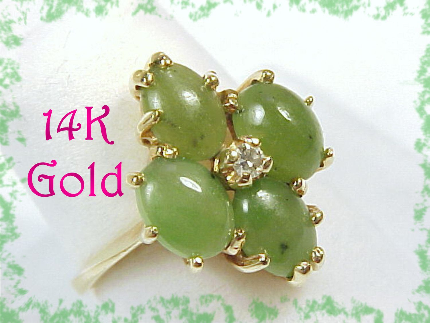 14K Gold - Jade Diamond Estate Cocktail Ring ~ Romany Oriental Antique - FREE SHIPPING