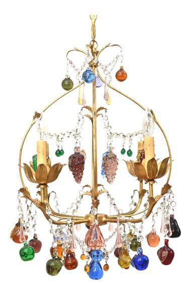 Vintage italian chandelier with hanging crystal fruits italian chandelier hanging crystals and vintage italian
