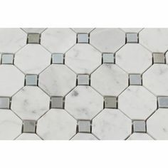 Best Carrara White Marble Honed Octagon Mosaic Tile W Blue 400 x 300