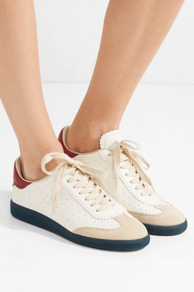 65ac16008c Isabel Marant | Bryce logo-print suede-trimmed leather sneakers |  NET-A-PORTER.COM