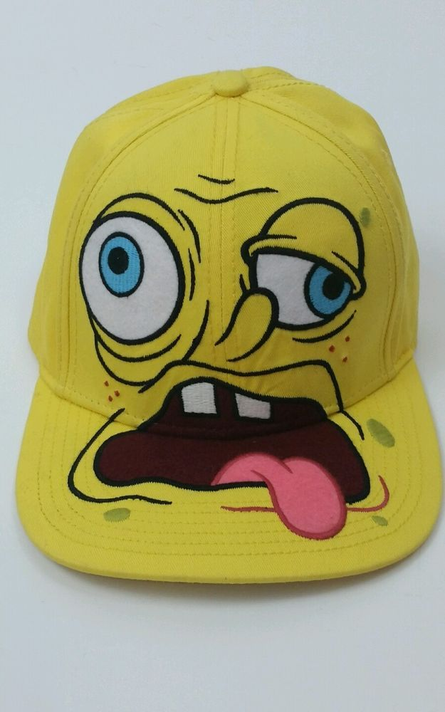 best website 0f7b5 5d8fd Spongebob Squarepants SICK FACED Nickelodeon Adult Snapback Baseball Cap Hat   Nickelodeon  BaseballCap