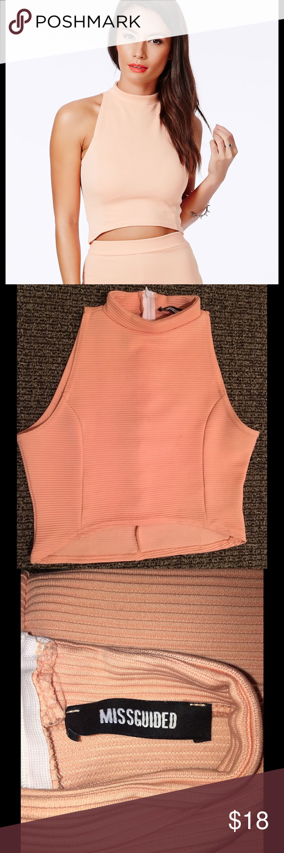 MISSGUIDED Salmon Peach High Neck Crop Top Size 8