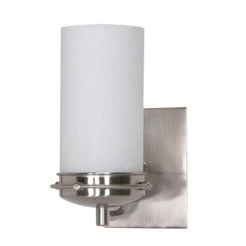Photo of Nuvo Lighting 60/611 Polaris one-light bathroom mixer with opal white glass made of brushed nickel – brushed, contemporary and modern | Bellacor