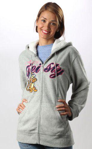 Disney Tigger Fleece Zip Up Jacket Hoodie Sweatshirt Feisty Grey -4249