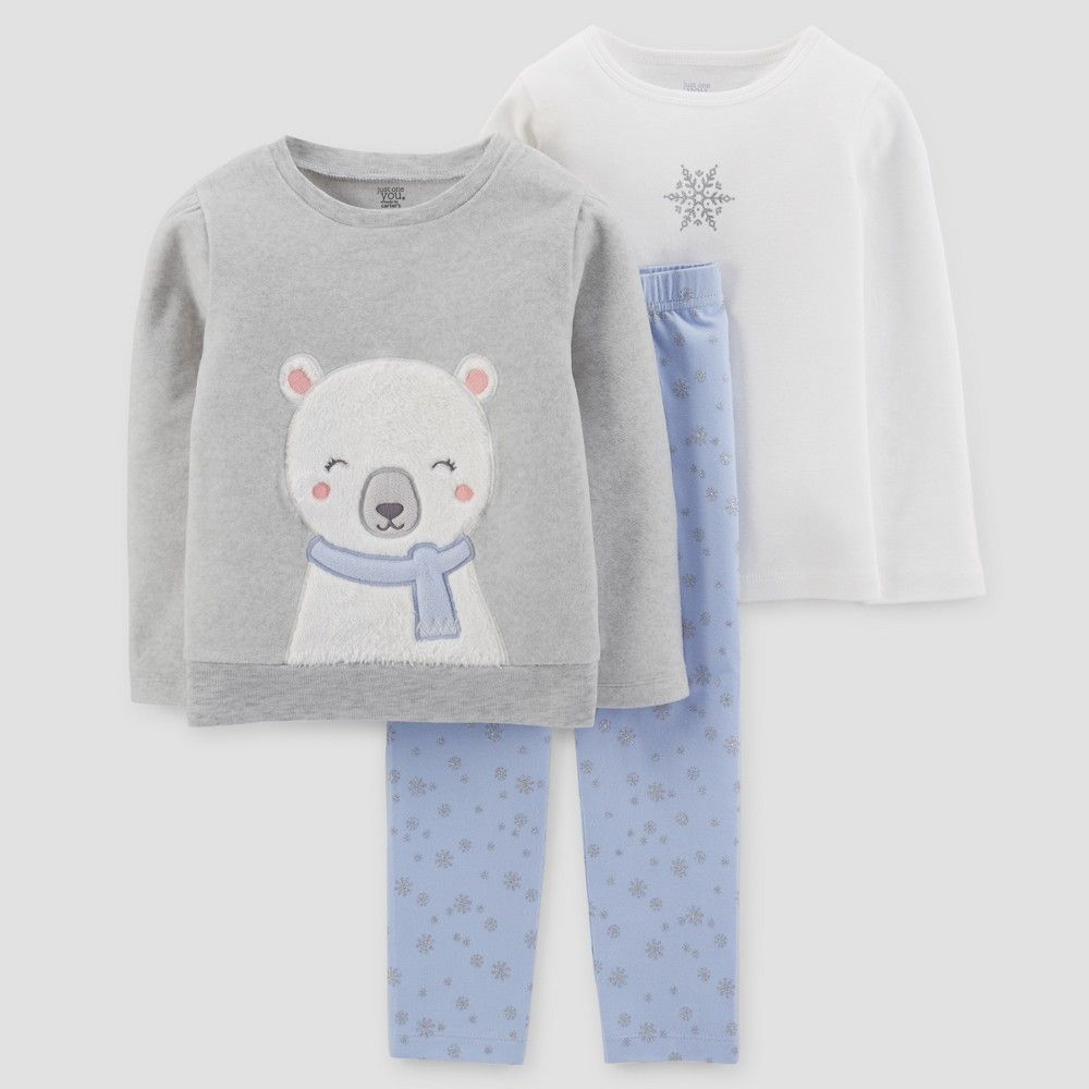 91201ba21bd3 Toddler Girls  3pc Fleece Polar Bear Set - Just One You Made by ...