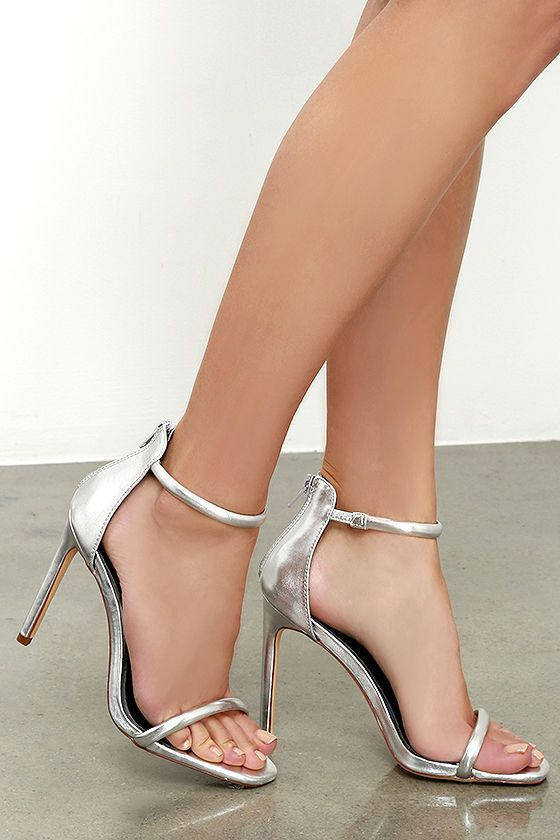 3da204fdfd Put together all your favorite outfits with the Keen Eye Silver Ankle Strap  Heels! Metallic silver vegan leather shapes a padded toe band and ankle  strap.