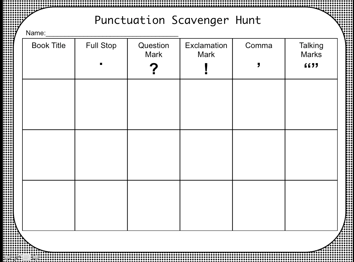 Made My Own Punctuation Scavenger Hunt Worksheet For